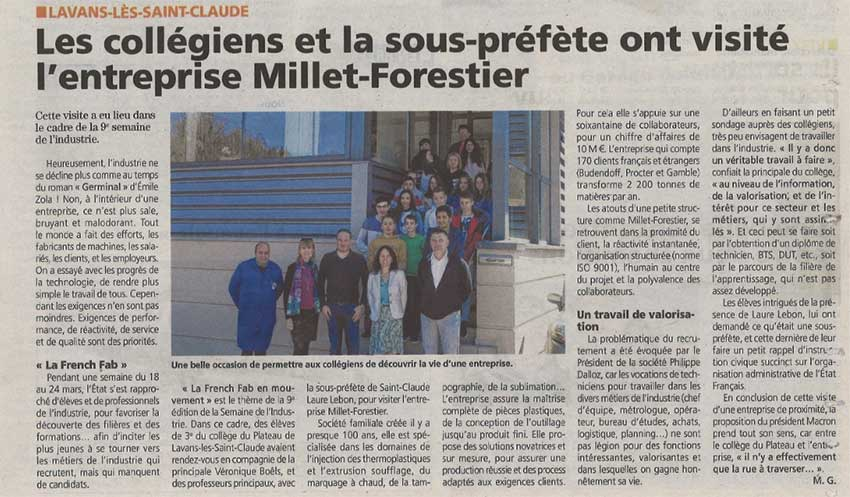 Article visite collegiens chez Millet-Forestier